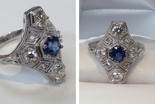 Ring with blue sapphire center gemstone surrounded by diamonds
